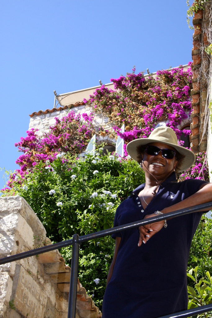 Bev in front of her favourite house in Eze Village