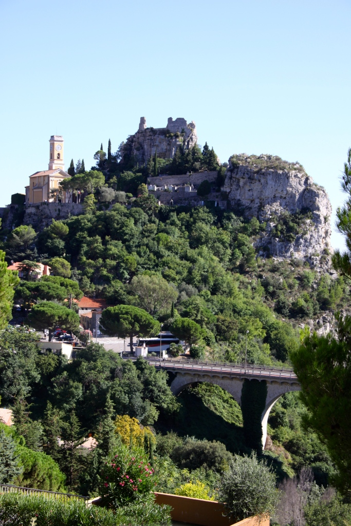 Eze Village with castle ruins and church on the hill