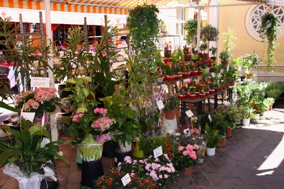 A flower stand in the Cours Saleya Market