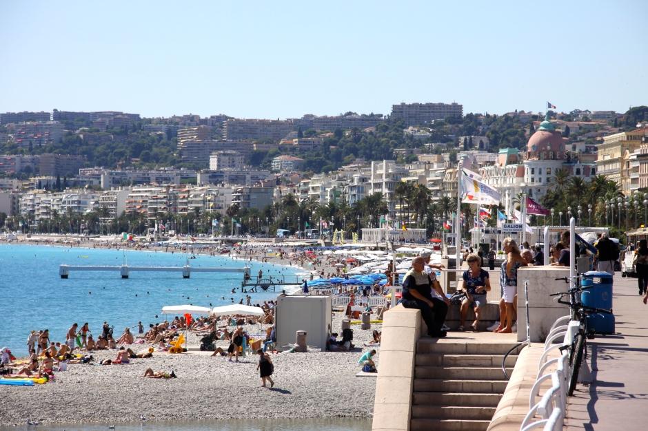 The promenade overlooks the pebble beaches