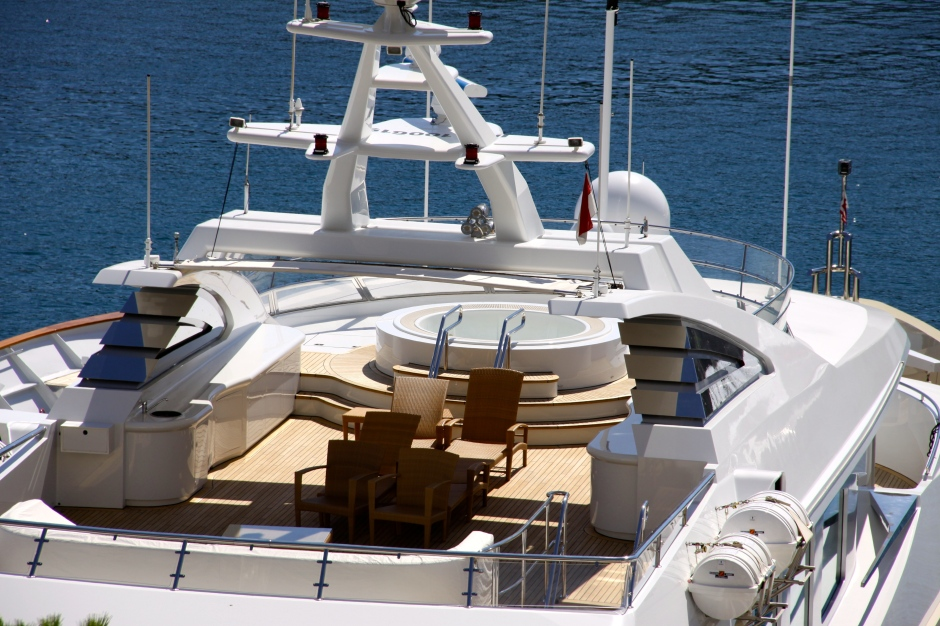 This one has a large round hot-tub on the top deck
