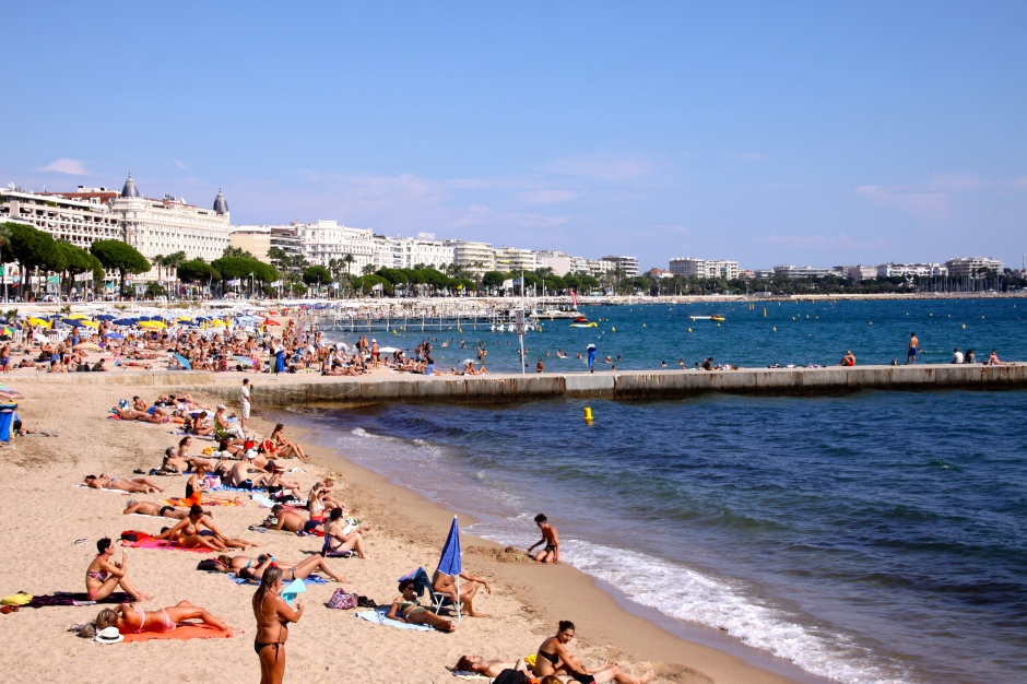 One of the beaches in Cannes