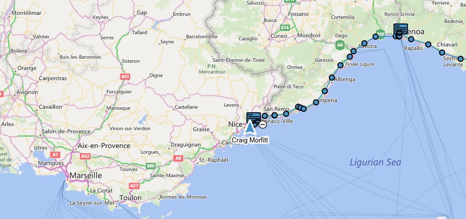 Our route from Genoa to Eze Bord de Mer