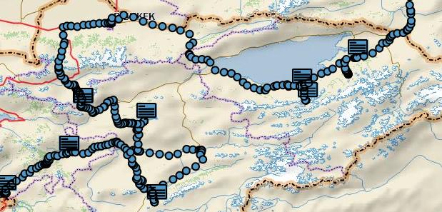 The route through Kyrgyzstan