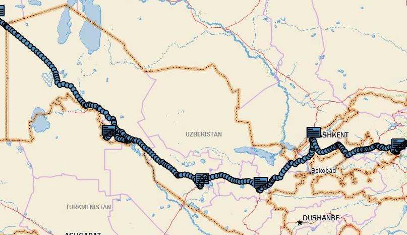 The route through Uzbekistan