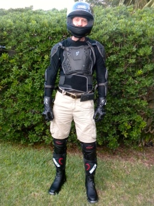 Trying on the new riding gear