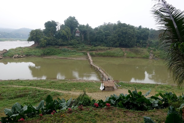 Temporary bridge near confluence with Mekong River