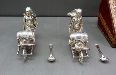 Pair of silver mustard barrels, France 1750
