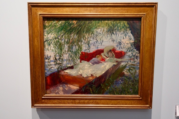 Lady and Child Asleep in a Punt Under the Willows by John Singer Sargent