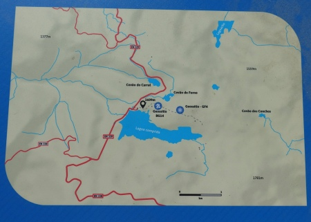 Map showing Lagoa Comprida and Covão dos Conchos