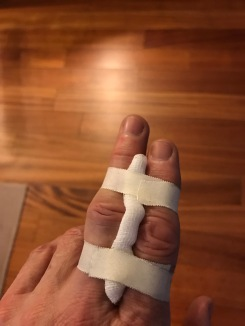 Fingers taped together