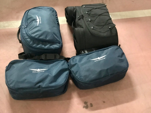 Our four pieces of luggage