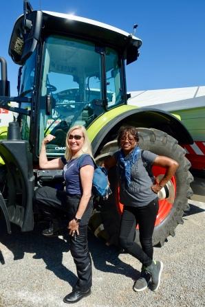 Angela and Bev in farmer mode