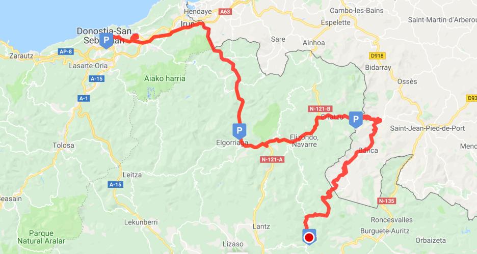 Actual route from San Sebastian to Eugi