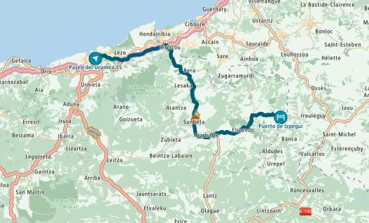 Route from San Sebastian to Izpegi Pass