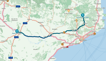 Route to Zaragoza