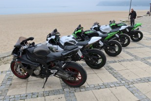 Some sport bikes at the beach