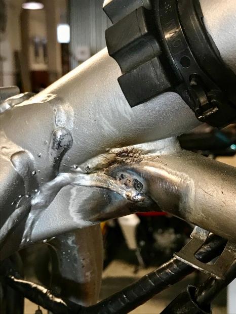 Frame welded to repair oil leak