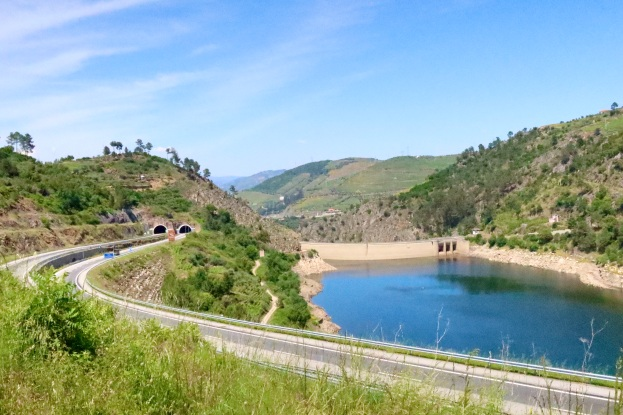 Dam and reservoir, with Varosa Tunnels on left