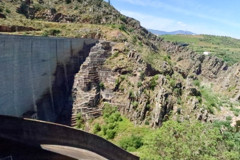 Steps next to the dam