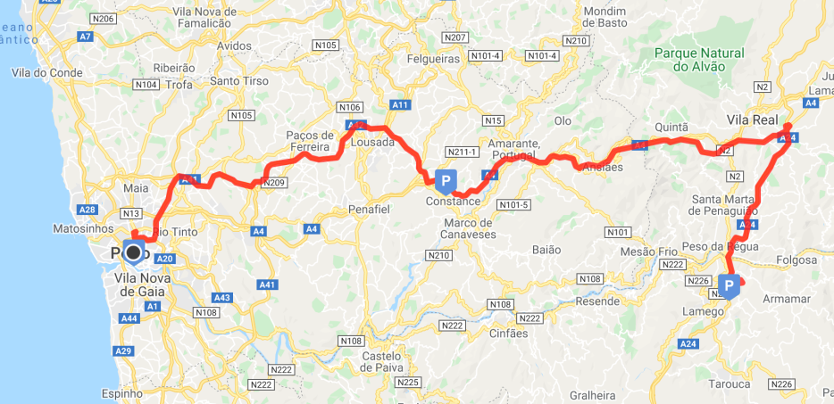 My route from Porto to Varosa Dam