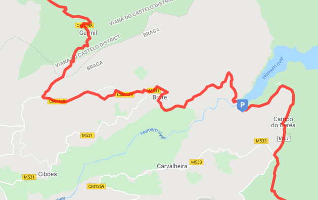 Route from the dam, through Brufe and Germil